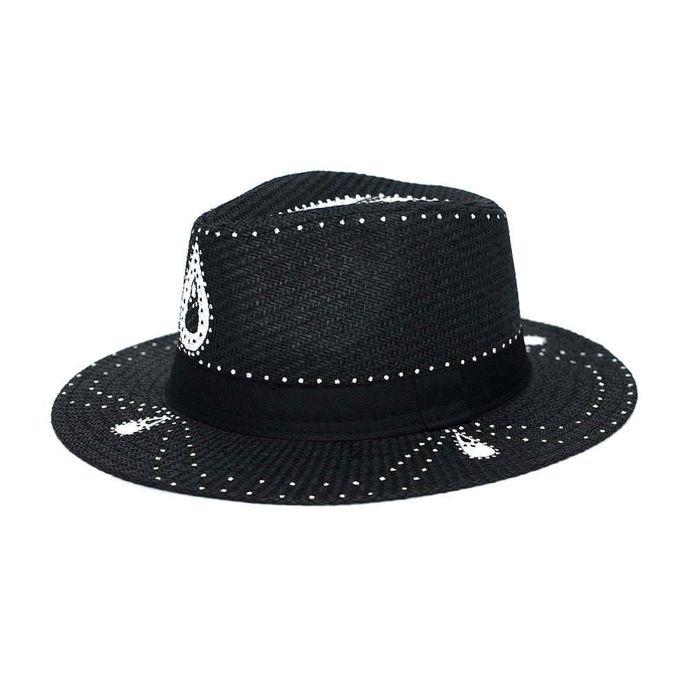 db98ad111e2 Coachella Handpainted Black Panama Hat